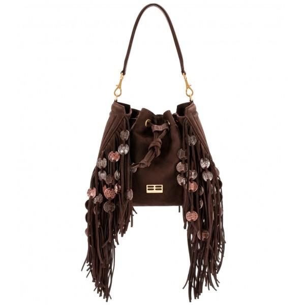 Aleksandra Badura - Lucky Bucket Bag Medium - Borsa a Frange Media - Cioccolato - Alta Qualità di Luxury