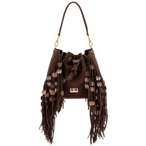 Aleksandra Badura - Lucky Bucket Bag Medium - Fringe Bucket Bag Medium - Chocolate - Luxury High Quality Leather Bag