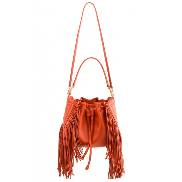 Aleksandra Badura - Lucky Bucket Bag Medium - Fringe Bucket Bag Medium - Tangerine - Luxury High Quality Leather Bag