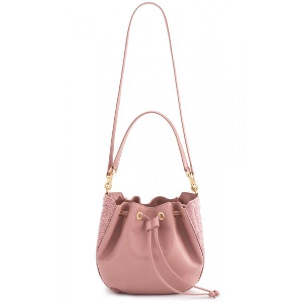 Aleksandra Badura - Lucky Bucket Bag Medium - Borsa a Frange Media - Quarzo Rosa - Alta Qualità di Luxury