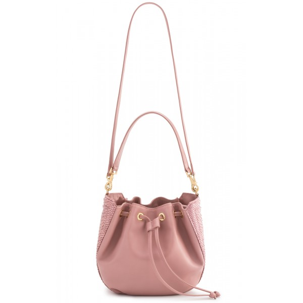 Aleksandra Badura - Lucky Bucket Bag Medium - Fringe Bucket Bag Medium - Rose Quartz - Luxury High Quality Leather Bag