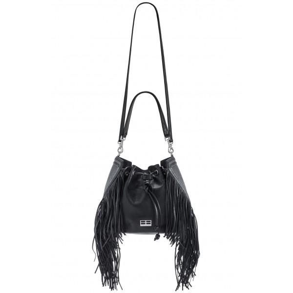 Aleksandra Badura - Lucky Bucket Bag Medium - Borsa a Frange Media - Onyx - Alta Qualità di Luxury