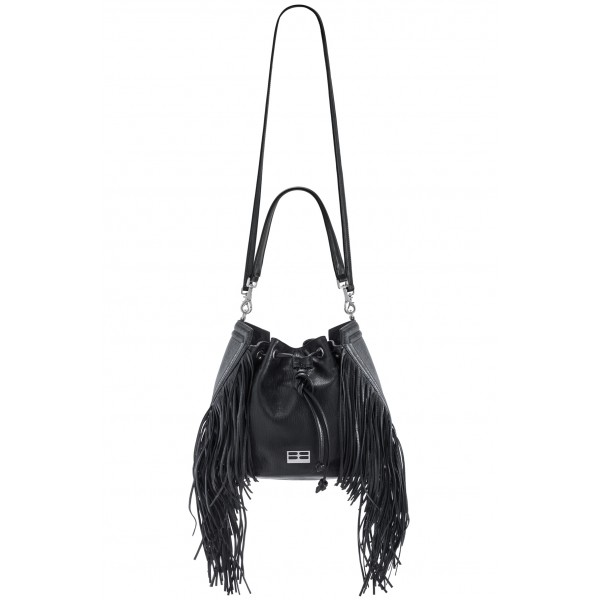 Aleksandra Badura - Lucky Bucket Bag Medium - Fringe Bucket Bag Medium - Onyx - Luxury High Quality Leather Bag