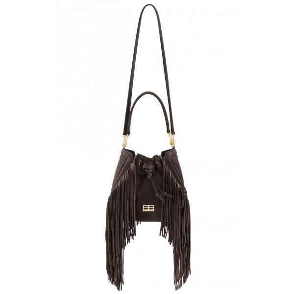 Aleksandra Badura - Lucky Bucket Bag Medium - Borsa a Frange Media - Onyx Scuro - Alta Qualità di Luxury