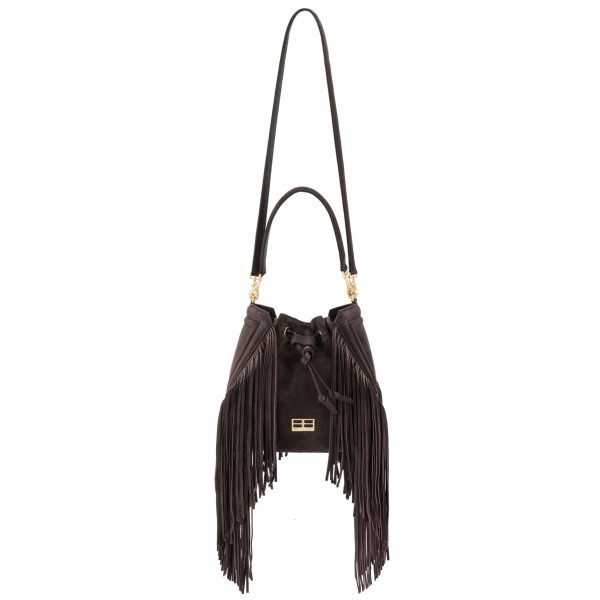 Aleksandra Badura - Lucky Bucket Bag Medium - Borsa a Frange Media - Onyx Scuro - Alta Qualità Luxury