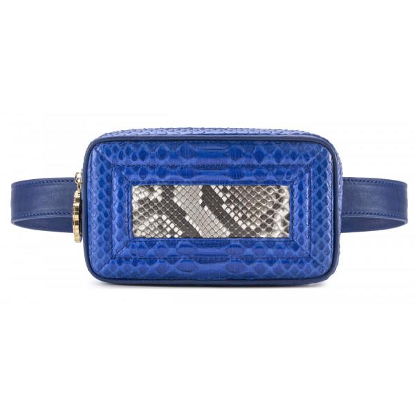 Aleksandra Badura - Camera Belt Bag - Marsupio in Pitone e Pelle di Vitello - Blu China e Pietra - Alta Qualità di Luxury
