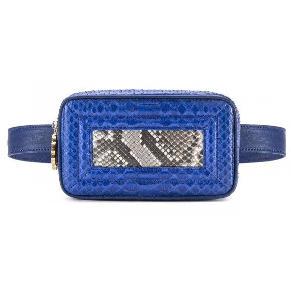 Aleksandra Badura - Camera Belt Bag - Marsupio in Pitone e Pelle di Vitello - Blu China e Pietra - Alta Qualità Luxury