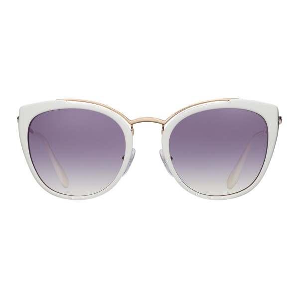 Prada - Prada Collection - White and Cerise Round Cat Eye Sunglasses - Prada Collection - Sunglasses - Prada Eyewear