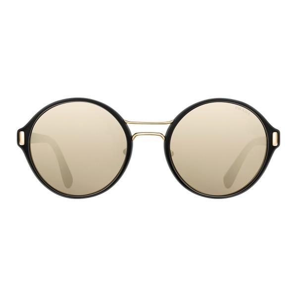 a1a9d65f48 Prada - Prada Mod - Black and Light Pale Gold Round Sunglasses - Prada Mod  Collection