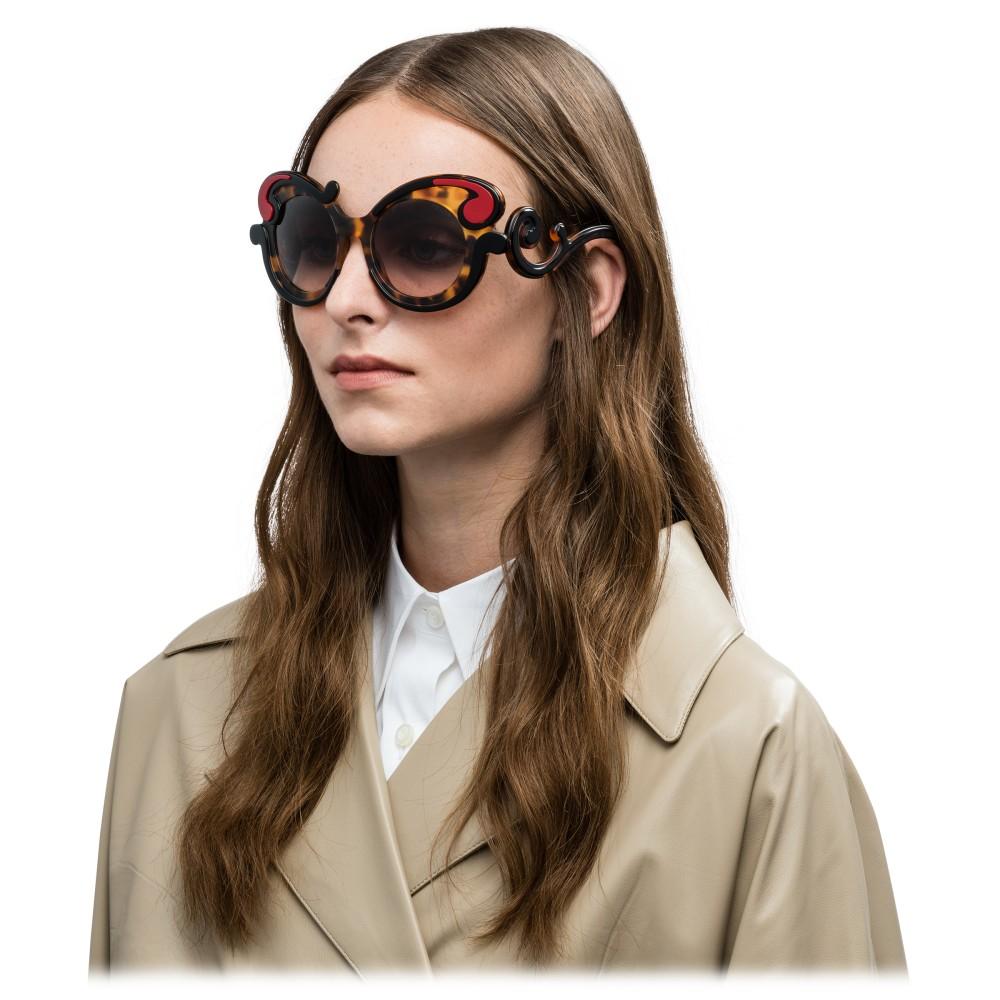 d7223d1efb ... Prada - Prada Minimal Baroque - Caramel Turtle Fire Round Sunglasses - Prada  Collection - Sunglasses