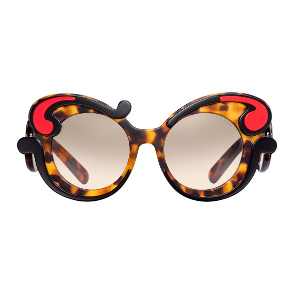 78d445a25fa Prada - Prada Minimal Baroque - Caramel Turtle Fire Round Sunglasses - Prada  Collection - Sunglasses