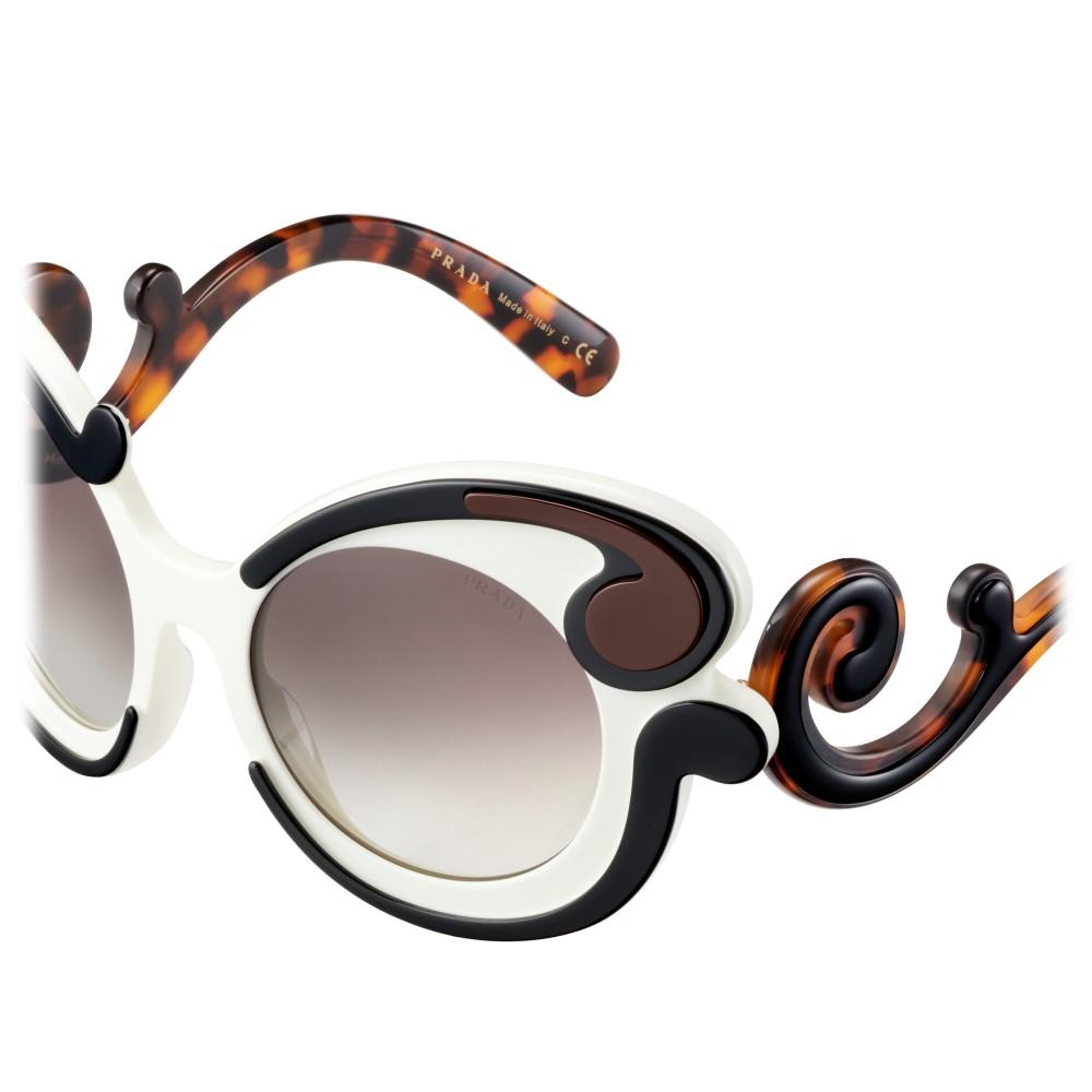 7f19e37ca2 ... Prada - Prada Minimal Baroque - Talc Black Cocoa Round Sunglasses - Prada  Collection - Sunglasses ...