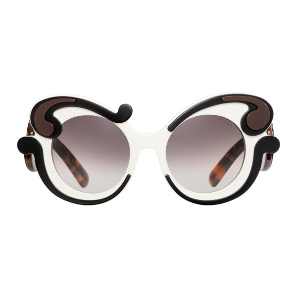 7a9c895e47 Prada - Prada Minimal Baroque - Talc Black Cocoa Round Sunglasses - Prada  Collection - Sunglasses