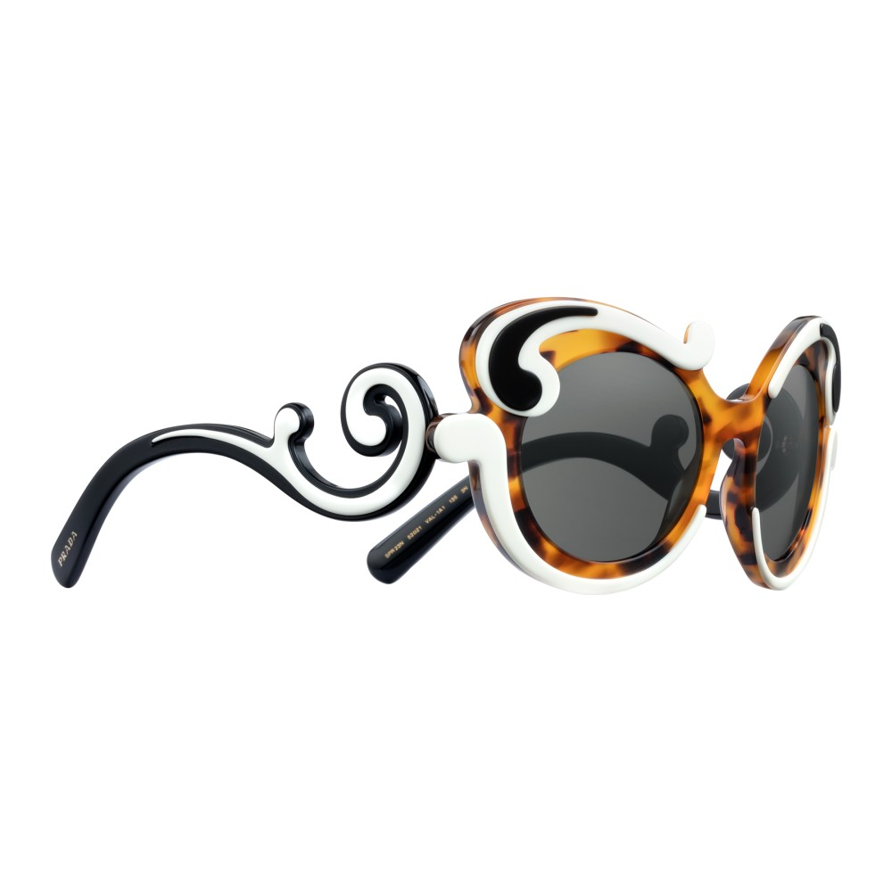 f9e0b0b388 ... Prada - Prada Minimal Baroque - Caramel Talc Black Turtle Round  Sunglasses - Prada Collection ...