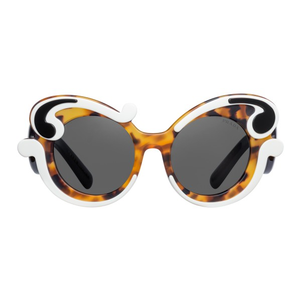 64b2f41e13b Prada - Prada Minimal Baroque - Caramel Talc Black Turtle Round Sunglasses  - Prada Collection -