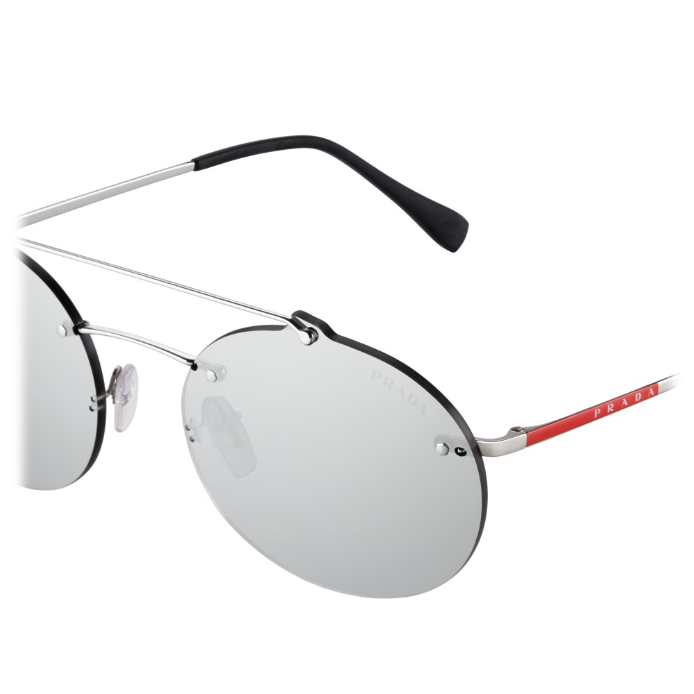 873f73e282 ... Prada - Prada Linea Rossa Constellation - Silver Oval Sunglasses - Prada  Collection - Sunglasses ...