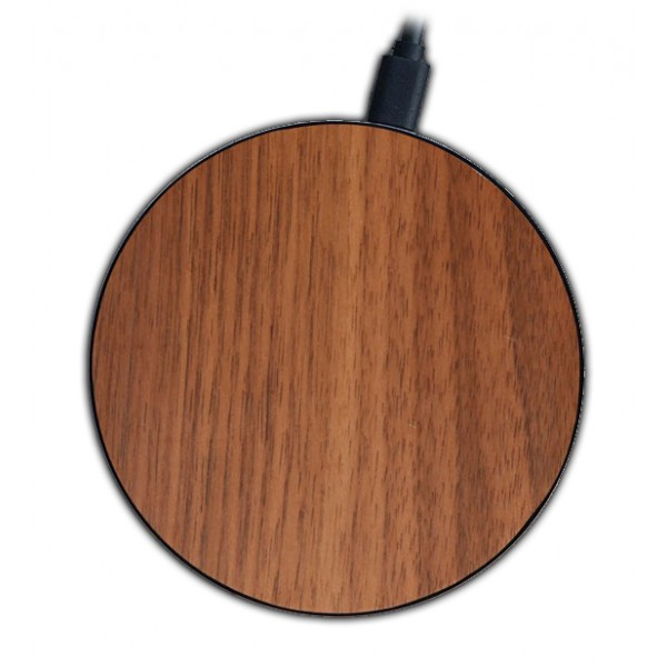 Wood'd - Walnut - Wireless Wooden Charging Pad with USB Cable - Desktop Charger - iPhone - Apple - Samsung