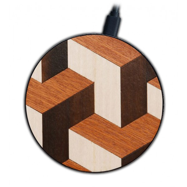 Wood'd - Tumble - Pad di Ricarica Wireless in Legno con Cavo USB - Caricatore da Tavolo - iPhone - Apple - Samsung