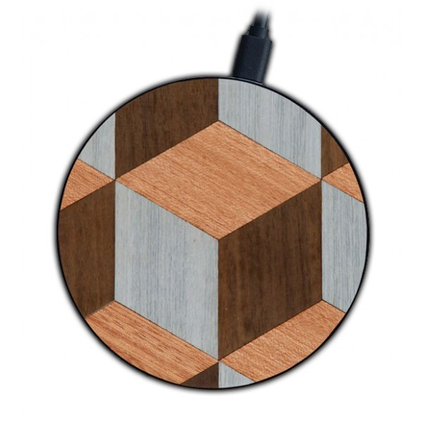 Wood'd - Blocks - Wireless Wooden Charging Pad with USB Cable - Desktop Charger - iPhone - Apple - Samsung