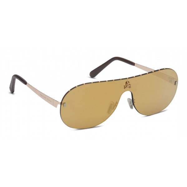 Philipp Plein - Target Studded Collection - Marrone Oro Specchiato - Occhiali da Sole - Philipp Plein Eyewear