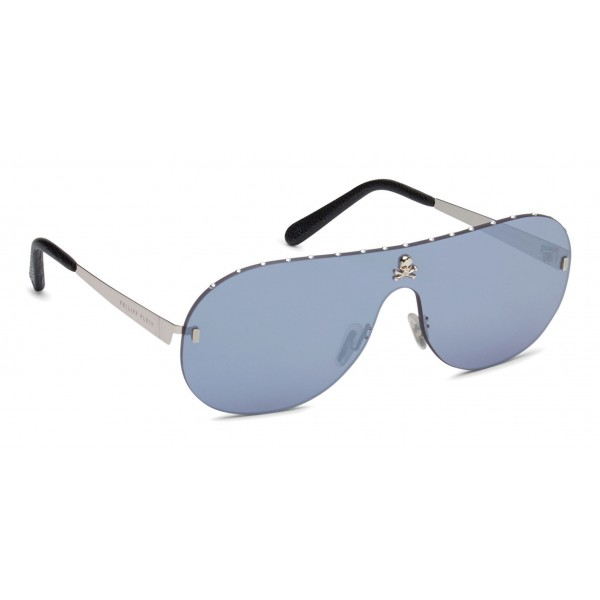 Philipp Plein - Target Studded Collection - Acciaio e Blu Flash - Occhiali da Sole - Philipp Plein Eyewear