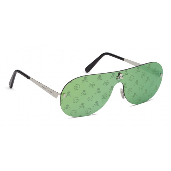 Philipp Plein - Target Monogram Collection - Nickel e Verde Specchiato - Occhiali da Sole - Philipp Plein Eyewear