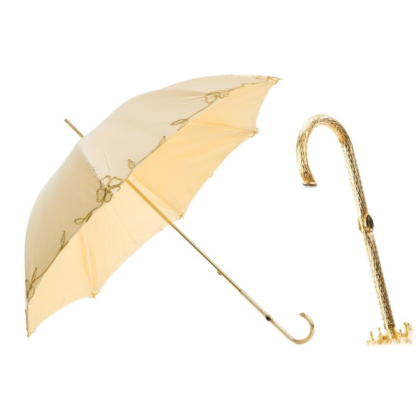 Pasotti Ombrelli 1956 - 177 Plat-300 P5 - Woman Ivory Umbrella Decorated - Luxury Artisan High Quality Umbrella