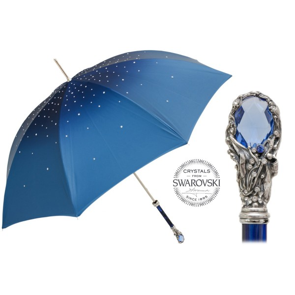 Pasotti Ombrelli 1956 - 185N 21284-17 W68PB - Blue Swarovski® Umbrella - Luxury Artisan High Quality Umbrella