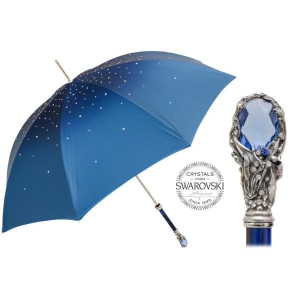 Pasotti Ombrelli 1956 - 185N 21284-17 W68PB - Ombrello Blu Swarovski® - Ombrello Artigianale di Alta Qualità Luxury