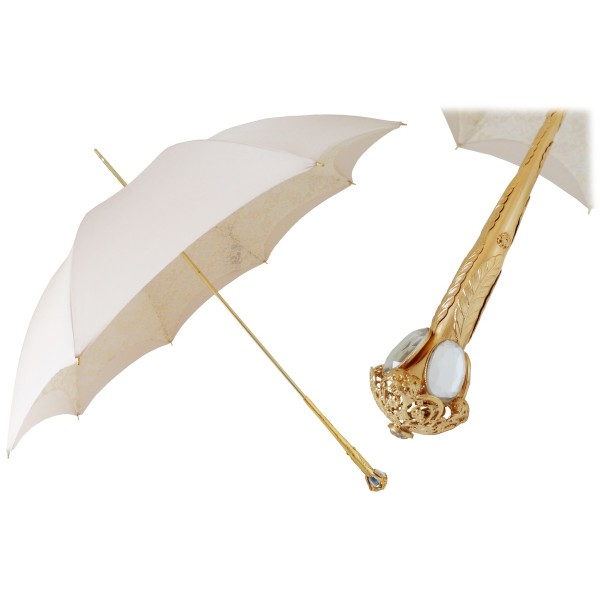 Pasotti Ombrelli 1956 - 386OR Serge-65 E11 - Elegant Ecru Parasol - Luxury Artisan High Quality Umbrella