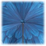 Pasotti Ombrelli 1956 - 189 21065-13 P17 - Blue Petal Luxury Umbrella - Luxury Artisan High Quality Umbrella