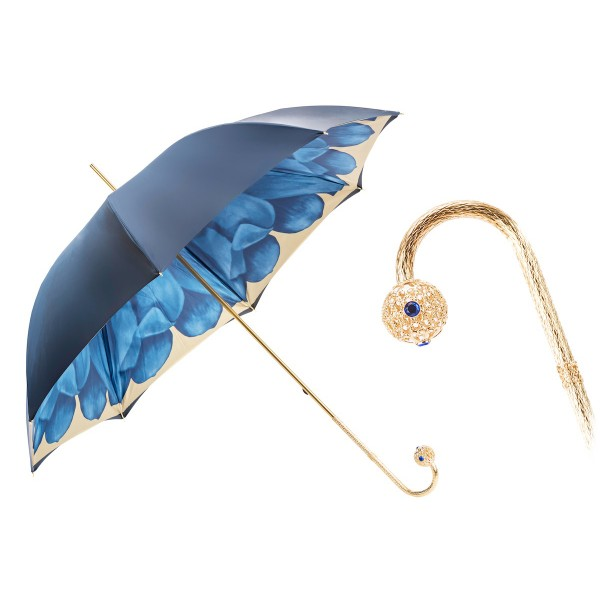 Pasotti Ombrelli 1956 - 189 21065-13 P17 - Blue Petal Luxury Umbrella - Luxury Artisan High Quality Umbrella