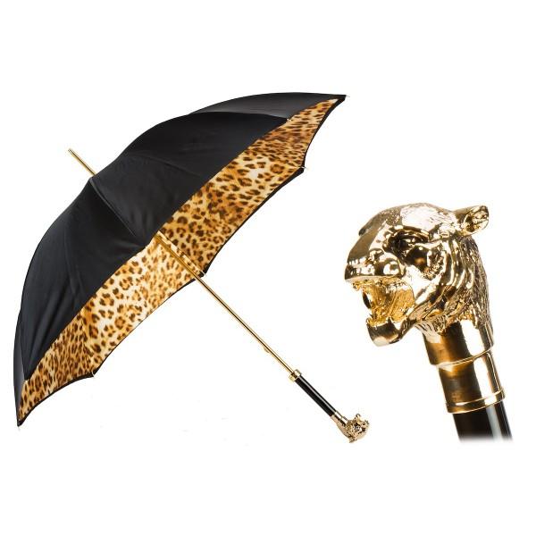 Pasotti Ombrelli 1956 - 189 52417-12 W35 - Ombrello Maculato con Tigre Dorata - Ombrello Artigianale di Alta Qualità Luxury