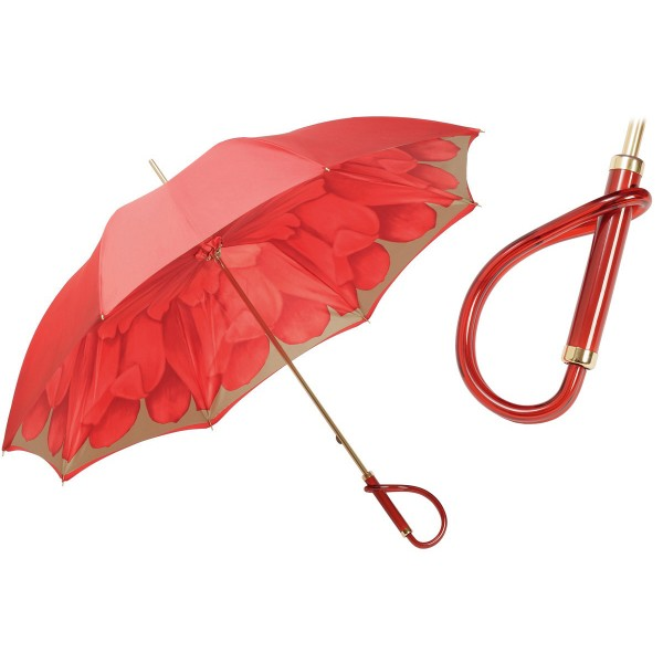 Pasotti Ombrelli 1956 - 189 21065-21 A - Red Petal Umbrella - Luxury Artisan High Quality Umbrella