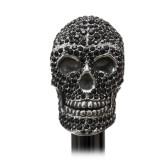 Pasotti Ombrelli 1956 - BA W333NE - Swarovski® Black Skull Stick - Luxury Artisan High Quality Stick