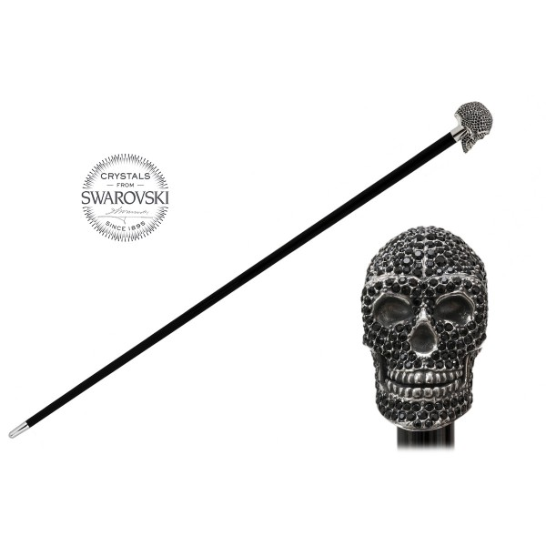 Pasotti Ombrelli 1956 - BA W333NE - Swarovski® Black Skull Stick - Luxury Artisan High Quality Stick