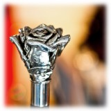 Pasotti Ombrelli 1956 - BA W43 - Silver Rose Stick - Luxury Artisan High Quality Stick