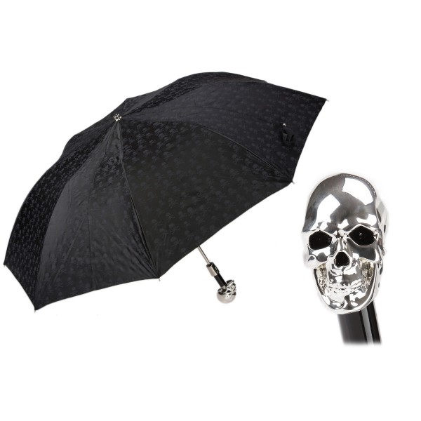 Pasotti Ombrelli 1956 - 64 PNT W33 - Skull Print Umbrella - Silver Skull - Luxury Artisan High Quality Umbrella