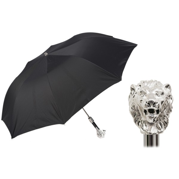 Pasotti Ombrelli 1956 - 64 6768-1 W37 - Silver Lion Folding Umbrella - Luxury Artisan High Quality Umbrella