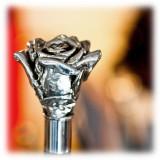 Pasotti Ombrelli 1956 - CS W43 - Rose Silver Shoehorn - Luxury Artisan High Quality Umbrella