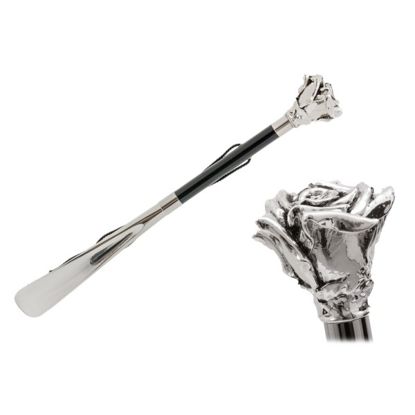 Pasotti Ombrelli 1956 - CS W43 - Rose Silver Shoehorn - Luxury Artisan High Quality Umbrella