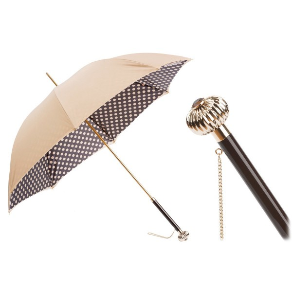 Pasotti Ombrelli 1956 - 189 55874-164 U14 - Classic Tone Umbrella with Polka Dots - Luxury Artisan High Quality Umbrella