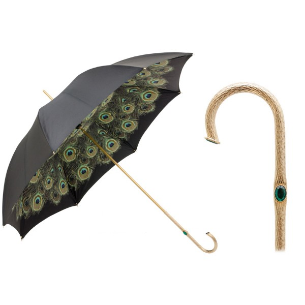 Pasotti Ombrelli 1956 - 189 Hawaii P5 - Black Umbrella with Peacock Interior - Luxury Artisan High Quality Umbrella
