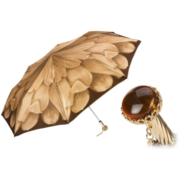 Pasotti Ombrelli 1956 - 257 21065-40 A29 - Beige Petal Folding Umbrella - Luxury Artisan High Quality Umbrella