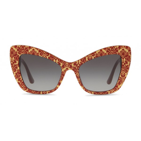 "Dolce & Gabbana - Cat-Eye Acetate Sunglasses with ""Sacred Heart"" Decoration - Damasco Bordeaux Gold - Dolce & Gabbana Eyewear"