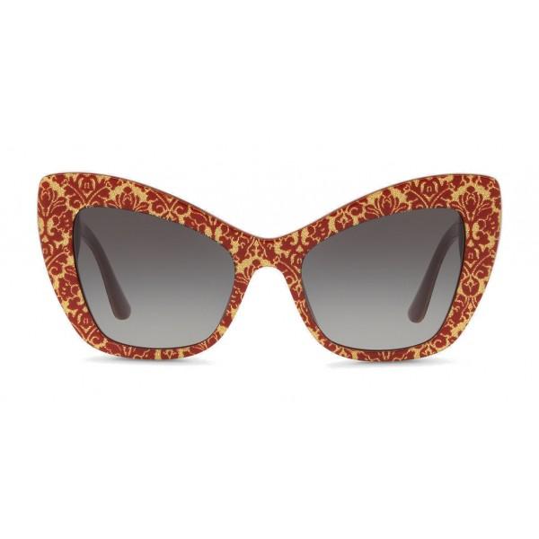 """Dolce & Gabbana - Occhiale da Sole Cat-Eye in Acetato con Decoro """"Cuore Sacro"""" - Damasco Oro - Dolce & Gabbana Eyewear"""