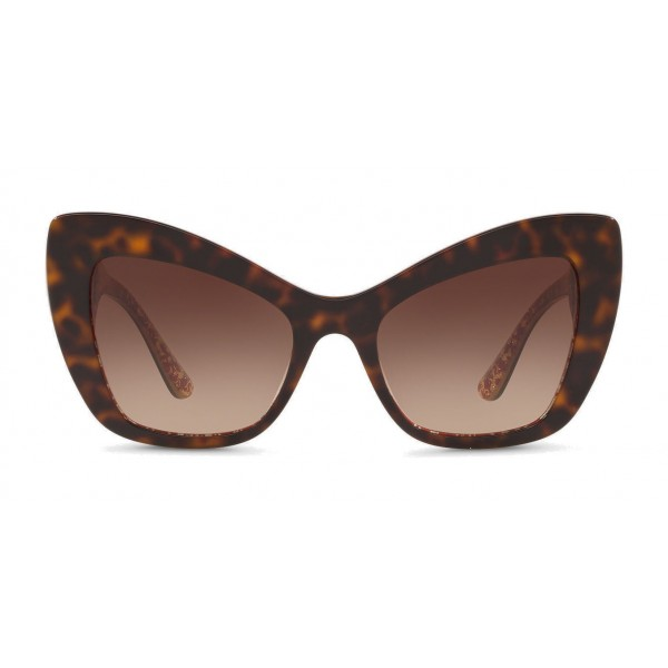 "Dolce & Gabbana - Cat-Eye Acetate Sunglasses with ""Sacred Heart"" Decoration - Havana Bordeaux Gold - Dolce & Gabbana Eyewear"
