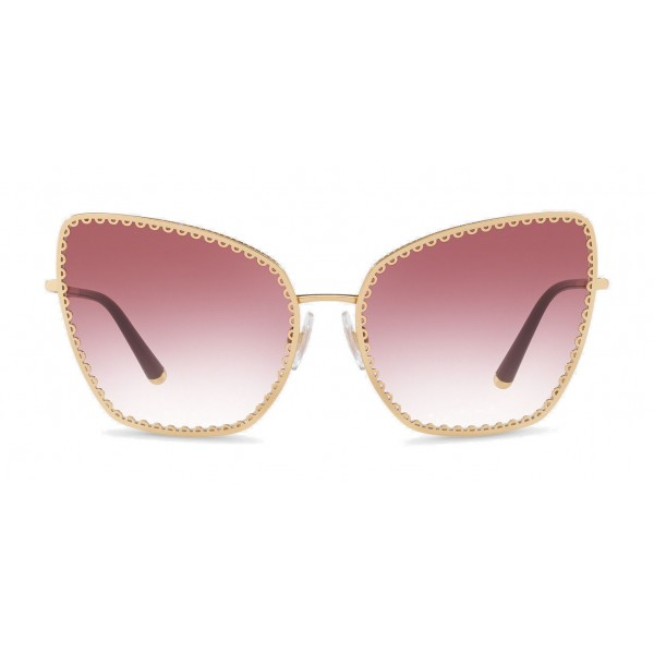 "Dolce & Gabbana - Cat-Eye Sunglasses with ""Sacred Heart"" Metal Profile - Gold & Bordeaux - Dolce & Gabbana Eyewear"