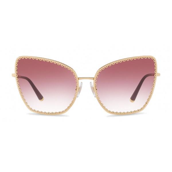 "Dolce & Gabbana - Occhiale da Sole Cat-Eye con Profilo in Metallo ""Cuore Sacro"" - Oro e Bordeaux - Dolce & Gabbana Eyewear"