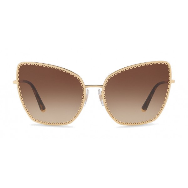 "Dolce & Gabbana - Cat-Eye Sunglasses with ""Sacred Heart"" Metal Profile - Gold & Havana - Dolce & Gabbana Eyewear"